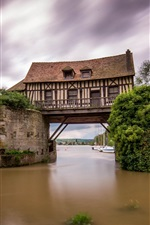 Preview iPhone wallpaper Vernon, France, the Seine river, the old mill, broken bridge