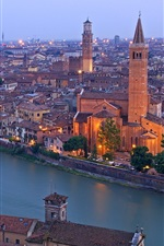 Verona, Italy, Adige river, city houses, bridges