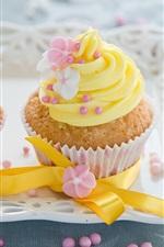 Flores amarelas decoração, bolos de creme