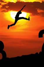 Preview iPhone wallpaper 2013 leap 2014, sunset, sky, clouds, people, creative pictures