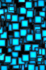Preview iPhone wallpaper 3D blue cubes background