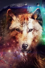 Preview iPhone wallpaper Abstract design, wolf, collage, space, colorful
