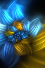 Preview iPhone wallpaper Abstract flowers, blue and yellow