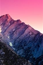 Preview iPhone wallpaper Alabama Hills, California, USA, mountain, snow, sunset, purple