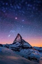 Preview iPhone wallpaper Alps, Matterhorn, Zermatt, Switzerland, evening, stars