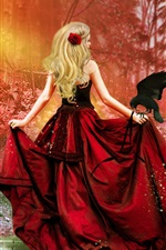 Preview iPhone wallpaper Art fantasy, red dress girl, blonde hair, crow, red forest