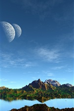 Preview iPhone wallpaper Art landscape, mountains, lake, planets, blue sky