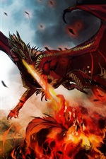 Preview iPhone wallpaper Art painting, dragon, monster, wings, fire