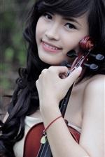 Asian black hair music girl smile