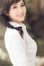 Preview iPhone wallpaper Asian girl, brunettes ponytails, white clothes