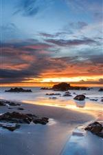 Australia, coast, rocks, sand, ocean, evening sunset, clouds