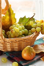 Preview iPhone wallpaper Autumn fruit, grapes, basket, pear, leaves