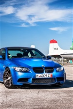 BMW M3 E92 blue car at airport, planes