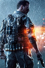 Preview iPhone wallpaper Battlefield 4 PC game, soldier, heavy rain, night