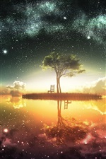 Preview iPhone wallpaper Beautiful artwork design, moon, island, chair, tree, stars, water reflection