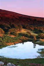 Preview iPhone wallpaper Britain, Wales, dusk, hills, trees, lake