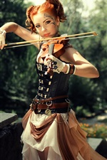 Preview iPhone wallpaper Brown hair girl, violin, sunlight