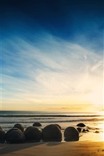 Preview iPhone wallpaper Coast nature landscape, sea, beach, rocks, sunset, sky, clouds