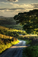 Preview iPhone wallpaper Countryside nature scenery, fence, hills, road, trees