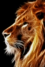 Preview iPhone wallpaper Creative design, light lion, mane, black background
