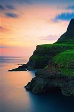 Preview iPhone wallpaper Denmark, the Faroe Islands, village, mountains, waterfalls, sunset
