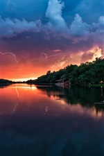 Preview iPhone wallpaper Dusk scenery, river, storm clouds, house, trees, lightning