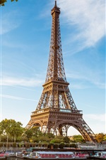Preview iPhone wallpaper Eiffel Tower, Paris, France, the river Seine, boats, blue sky