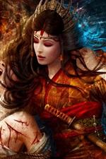 Preview iPhone wallpaper Fantasy red dress girl, torture, rope, sword