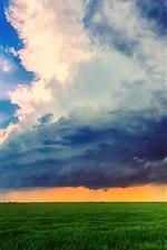 Farm field, sky, clouds, summer