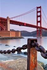 Golden Gate Bridge, San Francisco, California, United States, fence, iron chain