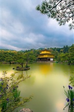 Preview iPhone wallpaper Golden Pavilion temple, Kyoto, Japan, lake, trees, flowers, park