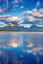 Preview iPhone wallpaper Grand Teton National Park, Jackson Lake, clouds, mountains, water, blue sky
