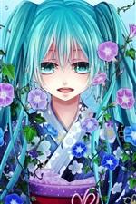 Hatsune Miku, blue hair girl, fish, water, flowers