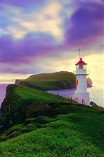 Preview iPhone wallpaper Iceland, Faroe Islands, lighthouse, summer, purple sky, coast