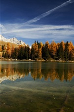 Preview iPhone wallpaper Italy nature, lake, mountains, water reflection, forest