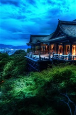 Preview iPhone wallpaper Japanese architecture Kiyomizu Kyoto, dusk, lights, blue
