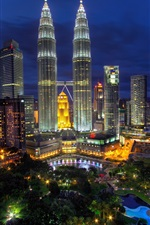 Preview iPhone wallpaper Kuala Lumpur, Malaysia, city night, lights, buildings