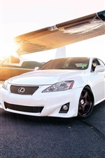 Preview iPhone wallpaper Lexus IS white car, sun, plane