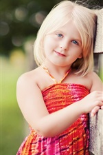 Preview iPhone wallpaper Lovely blonde little girl smile