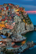 Manarola, Italy, evening sunset, houses, buildings, coast, rocks
