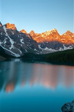 Preview iPhone wallpaper Moraine Lake, Banff National Park, Canada, mountains, dusk