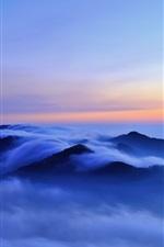 Preview iPhone wallpaper Nature morning landscape, hills, clouds, fog, sunrise, blue