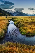 Preview iPhone wallpaper New Zealand nature landscape, river, mountains, meadows