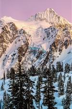 North America, Washington, Mount Shuksan, snow, winter, trees, dusk