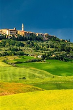 Preview iPhone wallpaper Pienza, Tuscany, Italy, fields, trees, houses, green