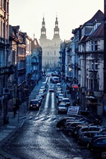 Preview iPhone wallpaper Poland, Poznan, city, cars, buildings