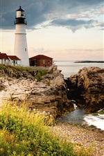 Portland Head Light, Cape Elizabeth, lighthouse, gulf of Maine, coast