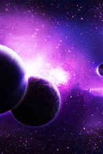 Preview iPhone wallpaper Purple planets, space, stars