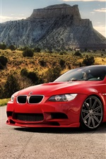 Red BMW M3 car at the road