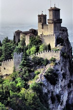 San Marino, country, city landscape, cliff, castle